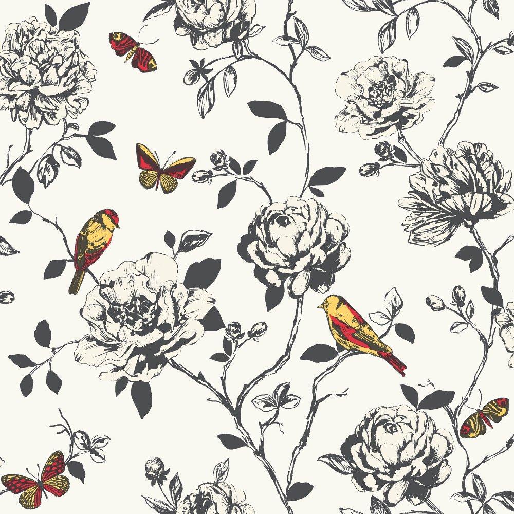 Rasch Rasch Amour Flower Bird Butterfly Floral Pattern Silver